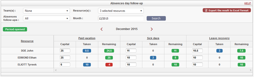 New Employee absences day follow-up module