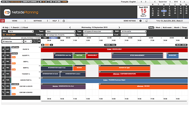 Easily manage the hourly planning of your employees thanks to the daily view.