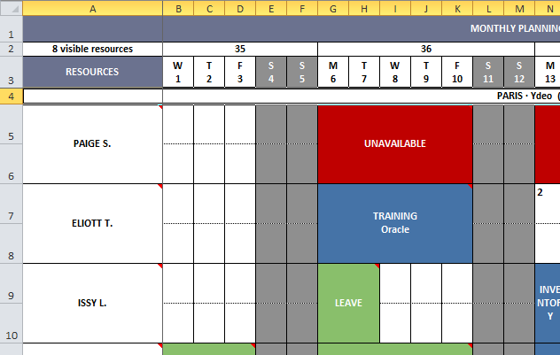 Export the daily plannings, weekly, monthly and the time-slots to Excel format and print them