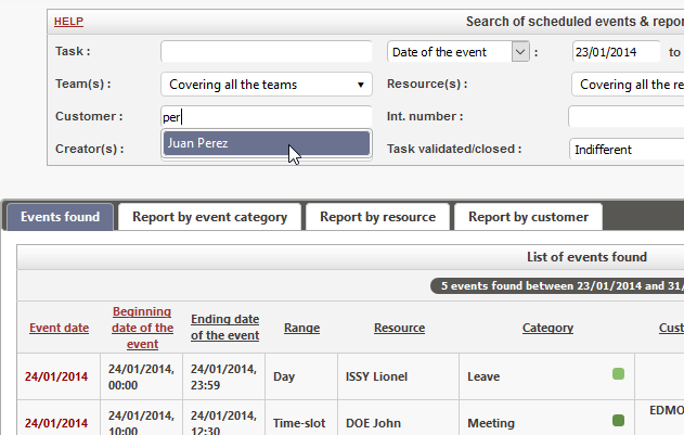 Use the integrated event search engine and export the result to Excel format to make your reportings