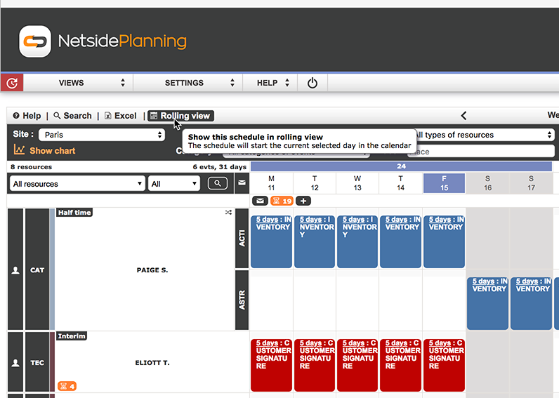 New rolling view available on all schedules. View your schedule from a date in the calendar.