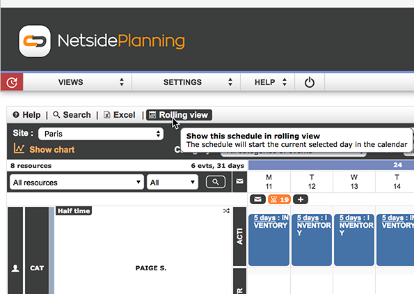 Netside Planning V3.00 : New interface, new time clock QR codes and new rolling view